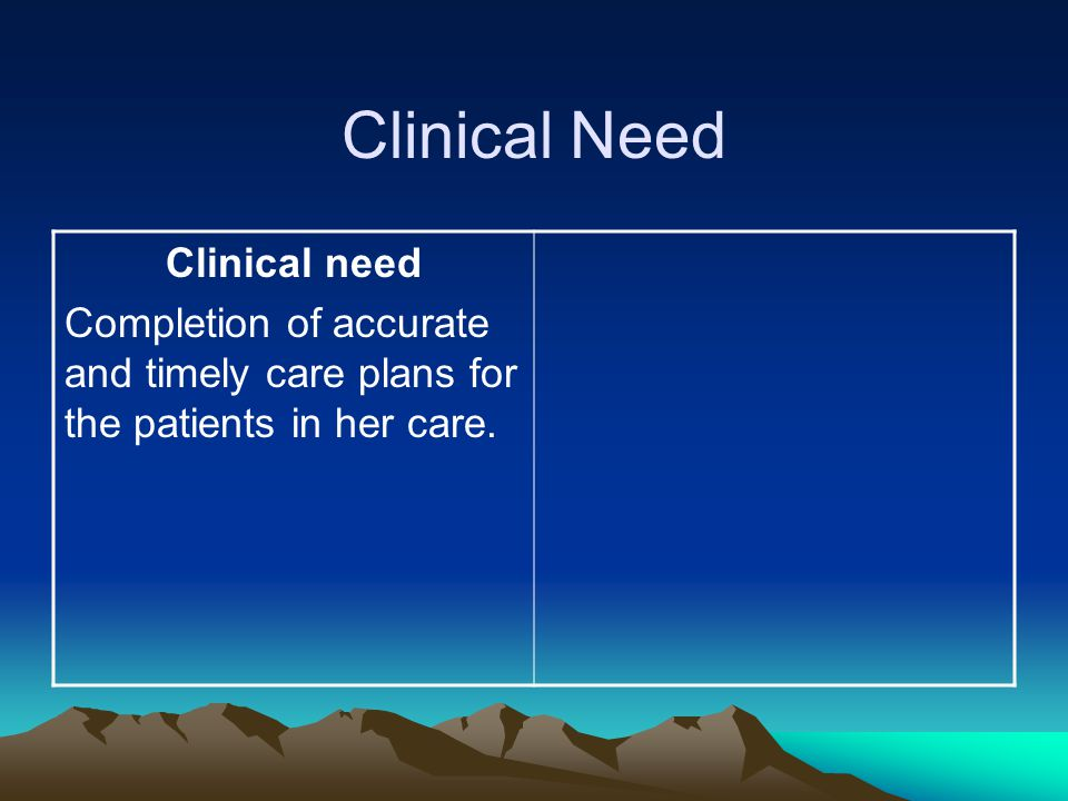 Clinical Need Clinical need