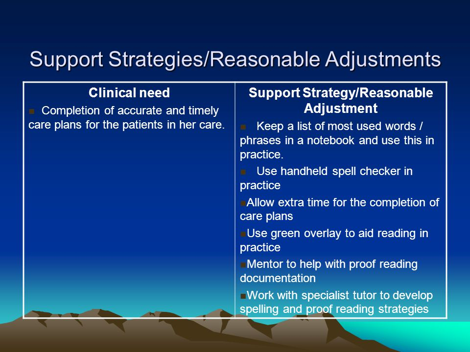 Support Strategies/Reasonable Adjustments