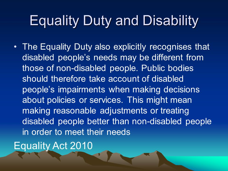 Equality Duty and Disability