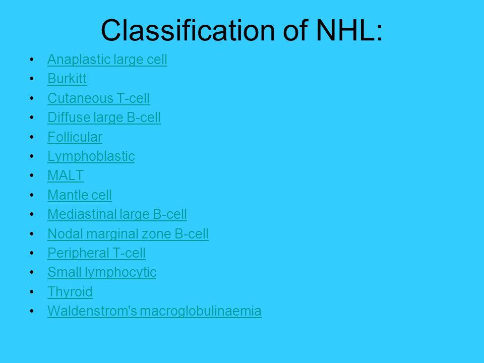 Classification of NHL: