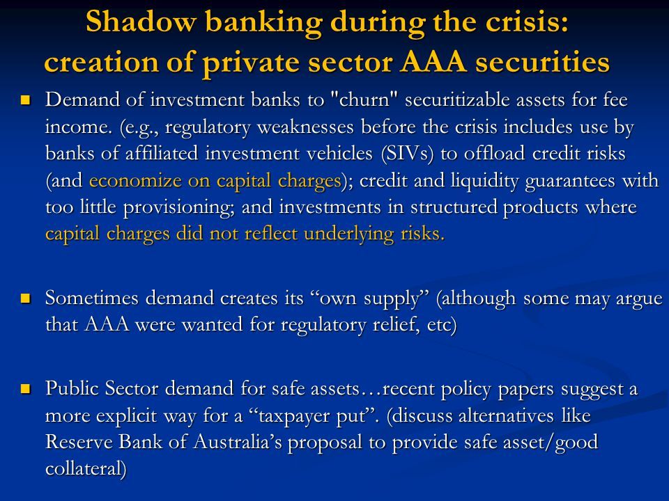 Shadow banking during the crisis: creation of private sector AAA securities