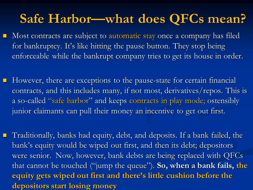Safe Harbor—what does QFCs mean