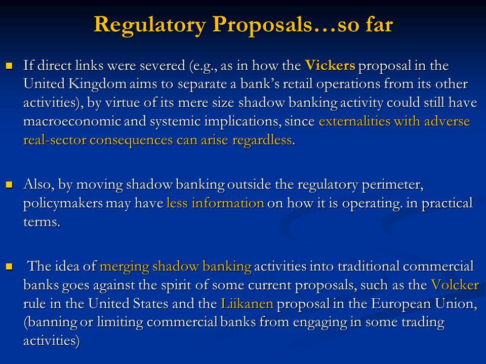Regulatory Proposals…so far