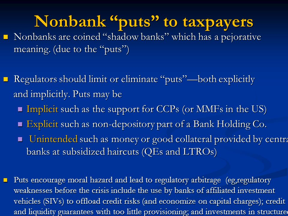 Nonbank puts to taxpayers