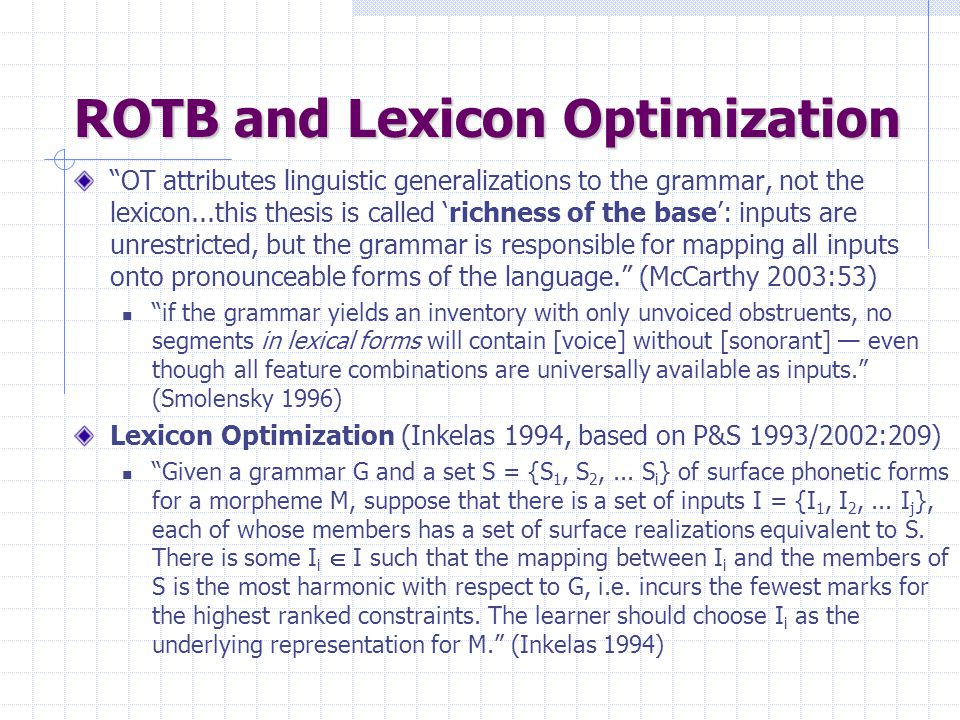 ROTB and Lexicon Optimization