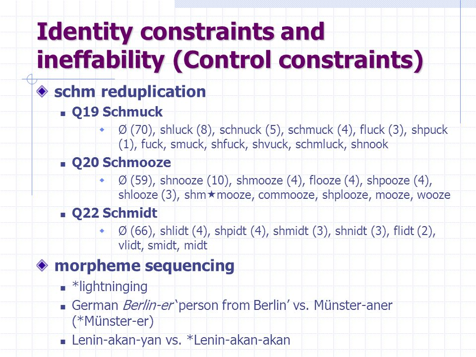 Identity constraints and ineffability (Control constraints)