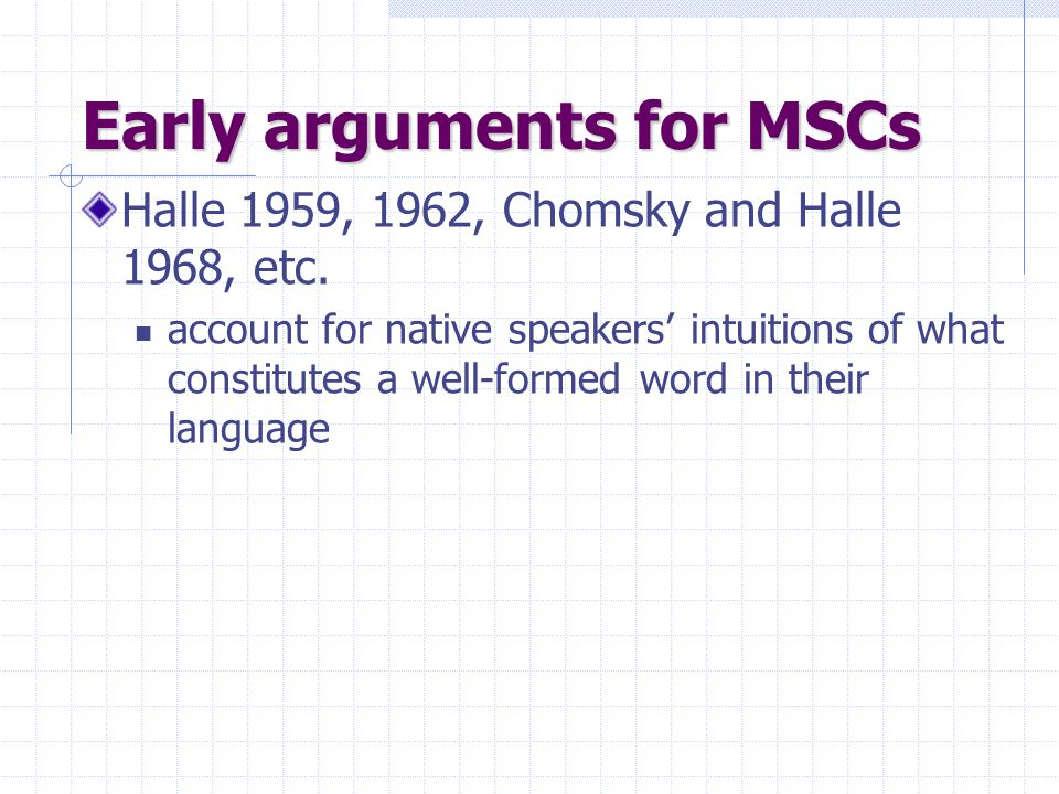 Early arguments for MSCs