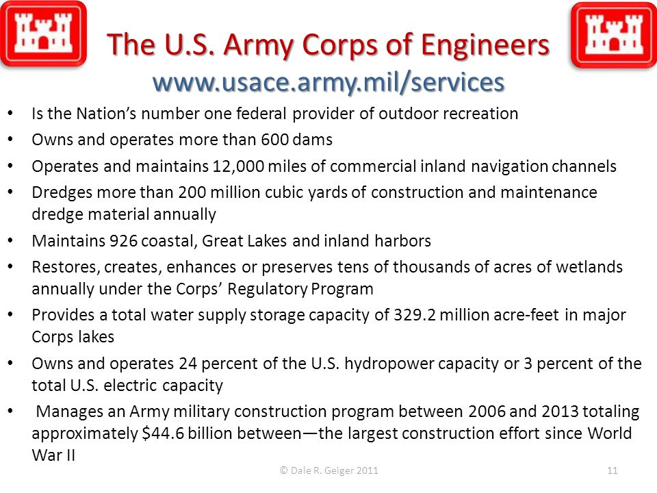 The U.S. Army Corps of Engineers www.usace.army.mil/services