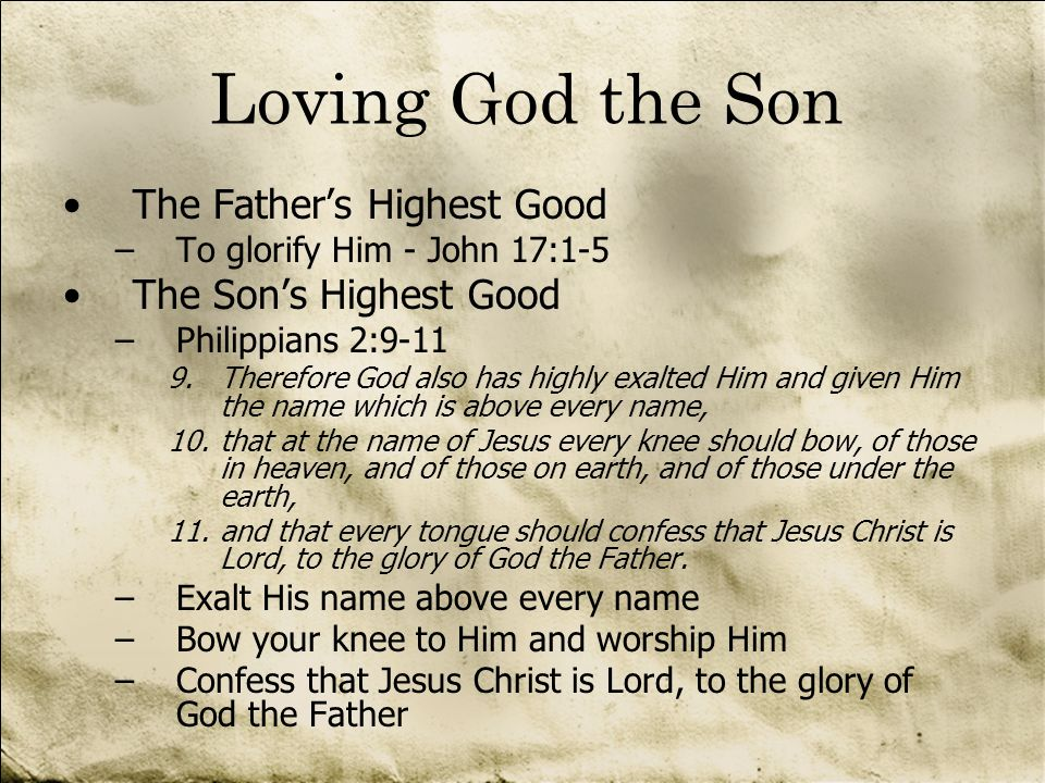 Loving God the Son The Father's Highest Good The Son's Highest Good