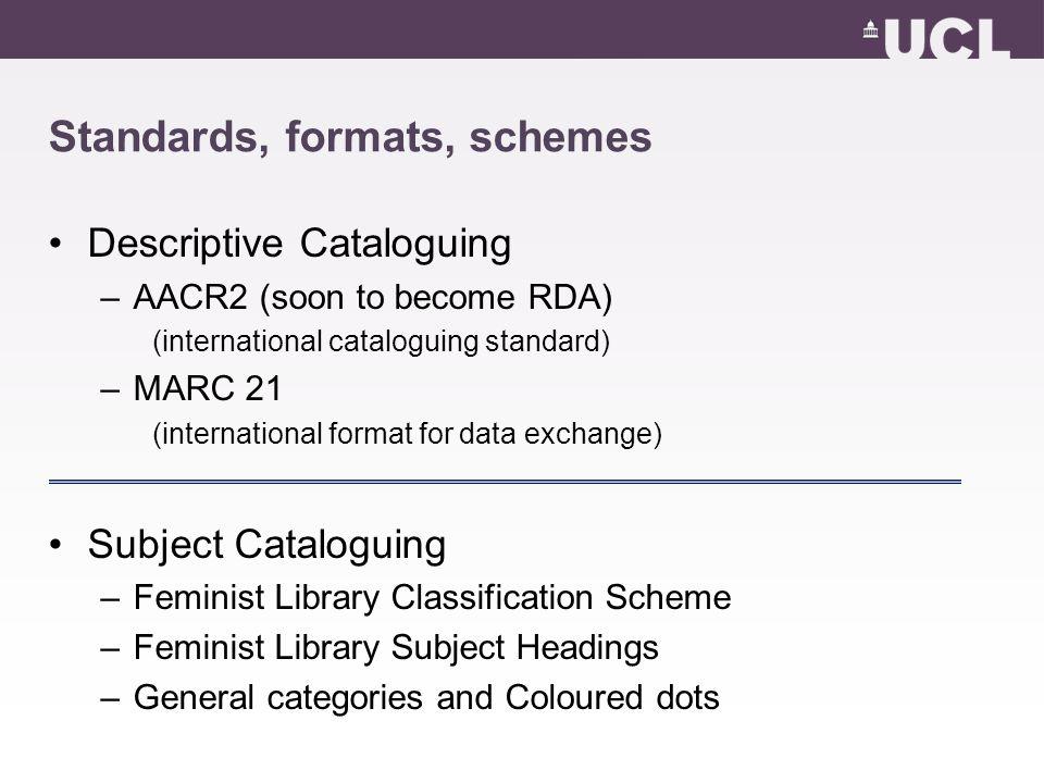 Standards, formats, schemes