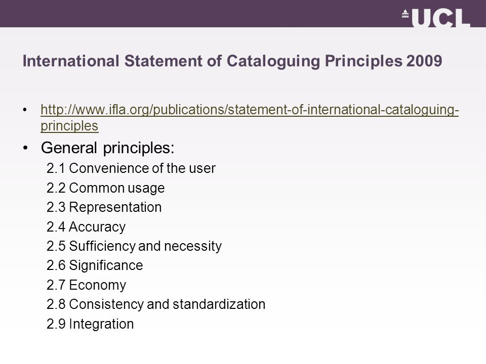 International Statement of Cataloguing Principles 2009