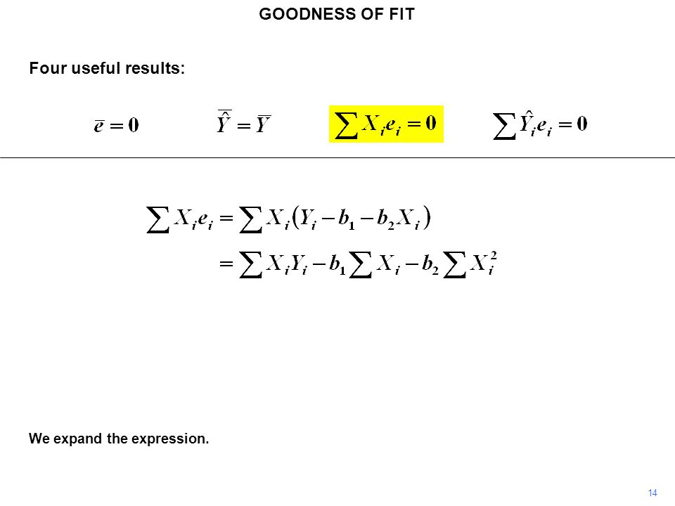GOODNESS OF FIT Four useful results: We expand the expression. 14