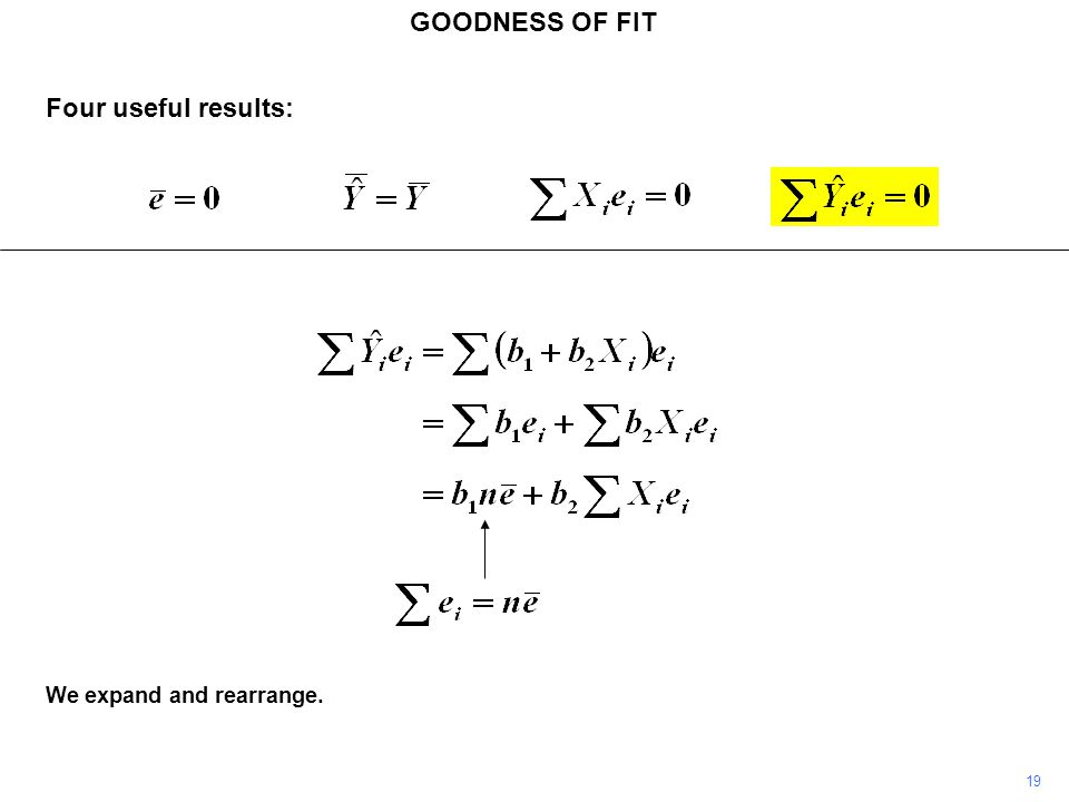 GOODNESS OF FIT Four useful results: We expand and rearrange. 19