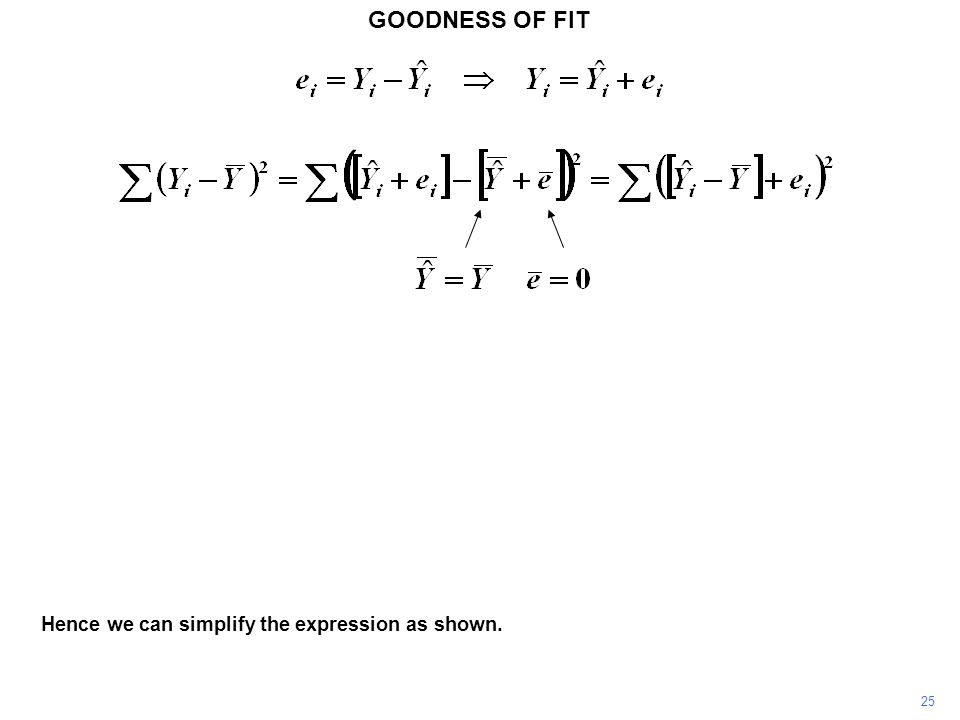 GOODNESS OF FIT Hence we can simplify the expression as shown. 25