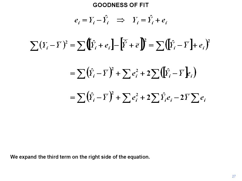 GOODNESS OF FIT We expand the third term on the right side of the equation. 27