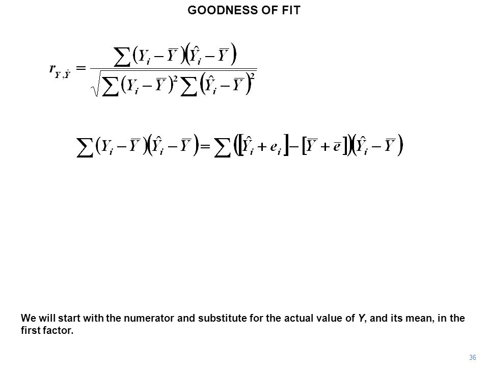 GOODNESS OF FIT We will start with the numerator and substitute for the actual value of Y, and its mean, in the first factor.