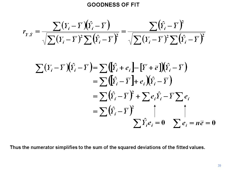 GOODNESS OF FIT Thus the numerator simplifies to the sum of the squared deviations of the fitted values.