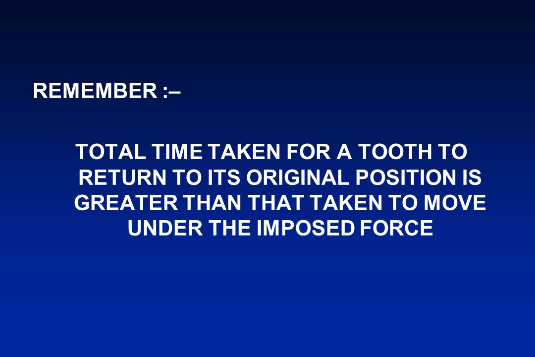 REMEMBER :– TOTAL TIME TAKEN FOR A TOOTH TO RETURN TO ITS ORIGINAL POSITION IS GREATER THAN THAT TAKEN TO MOVE UNDER THE IMPOSED FORCE.
