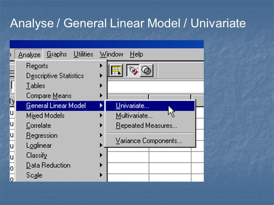 Analyse / General Linear Model / Univariate