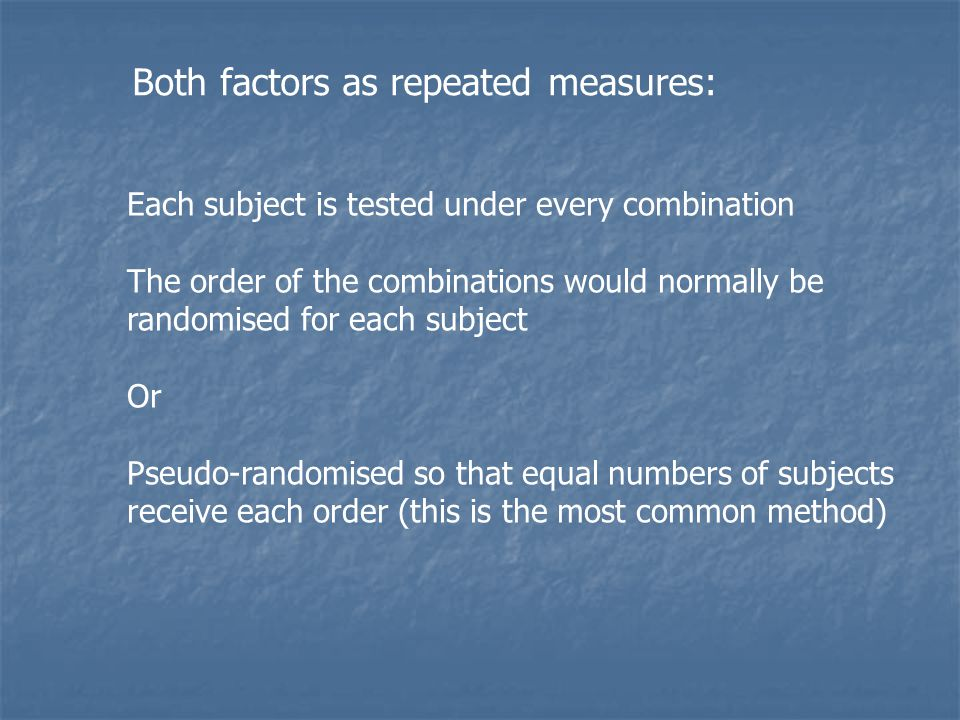 Both factors as repeated measures: