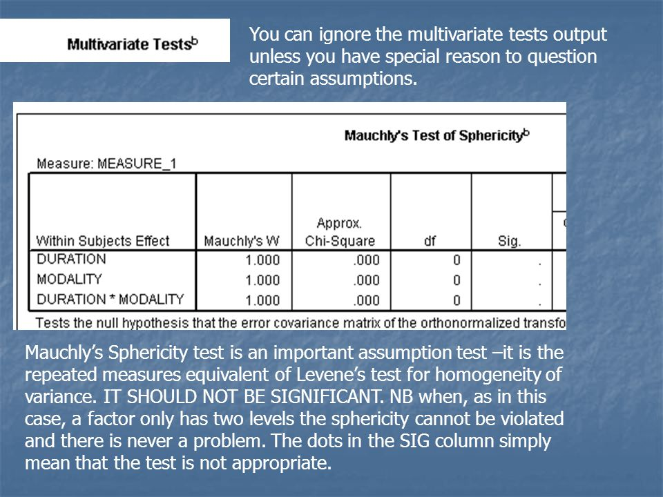 You can ignore the multivariate tests output unless you have special reason to question certain assumptions.