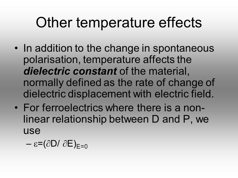 Other temperature effects