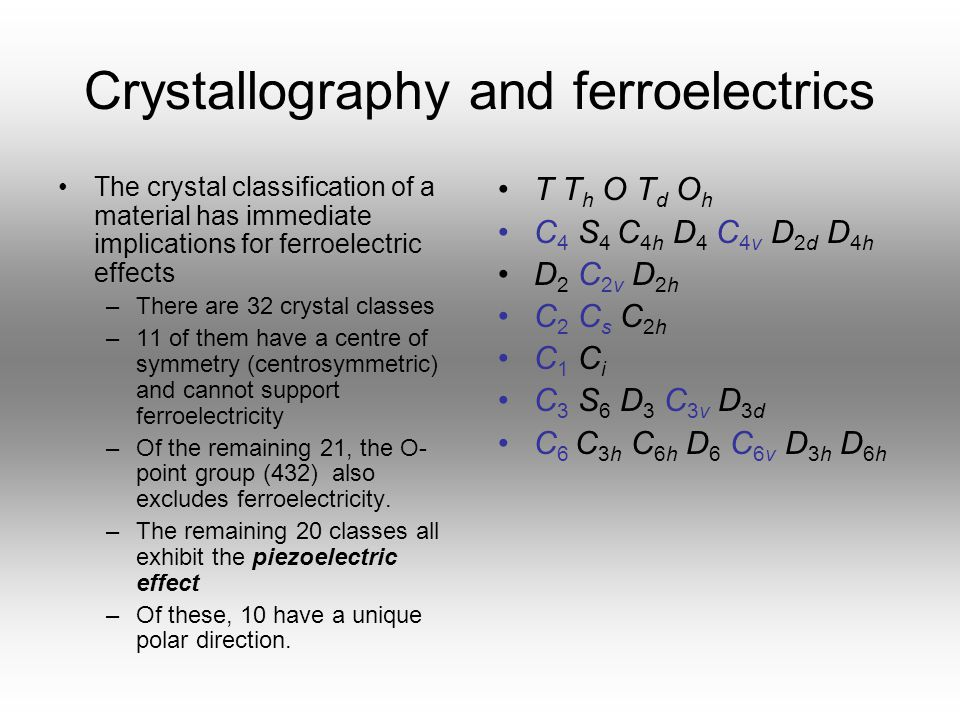 Crystallography and ferroelectrics