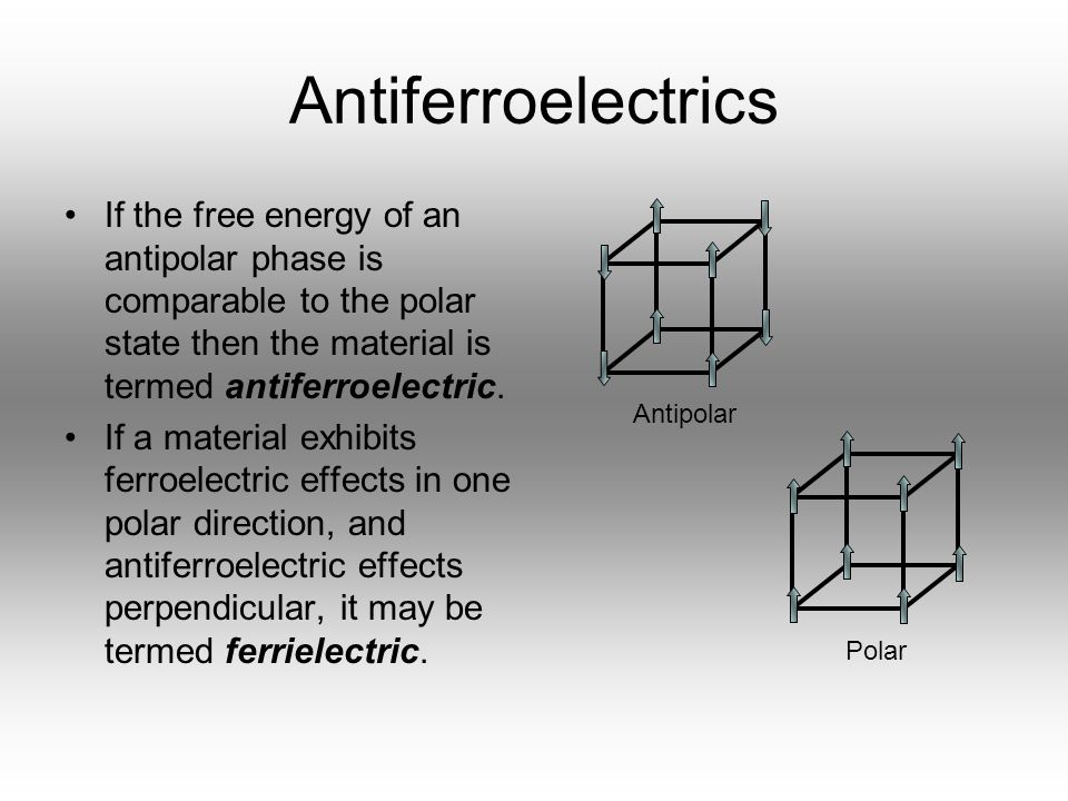 Antiferroelectrics If the free energy of an antipolar phase is comparable to the polar state then the material is termed antiferroelectric.