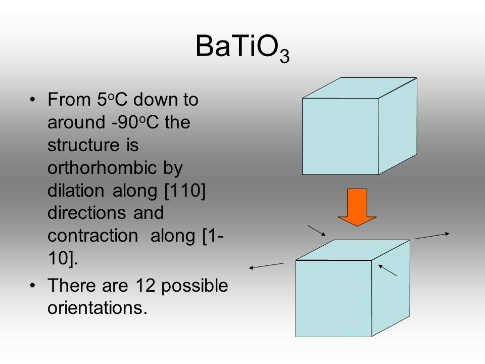BaTiO3 From 5oC down to around -90oC the structure is orthorhombic by dilation along [110] directions and contraction along [1-10].