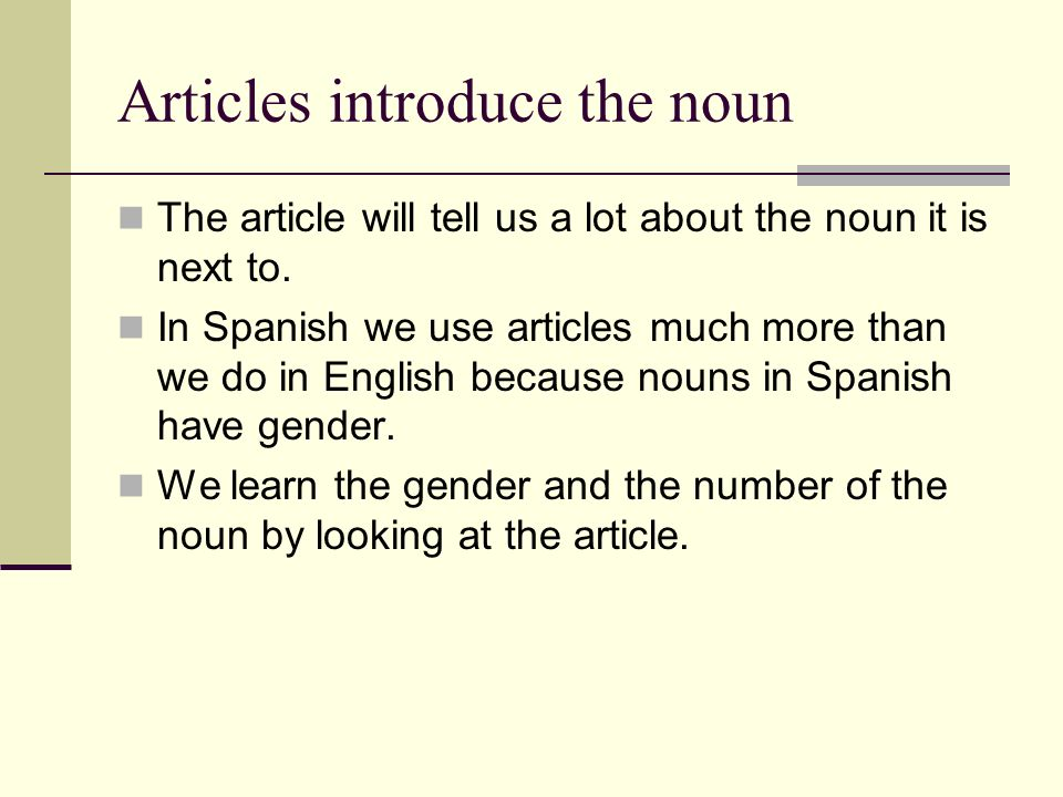Articles introduce the noun