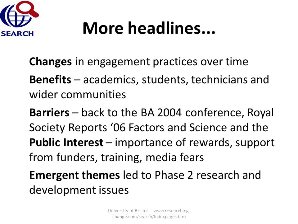 More headlines... Changes in engagement practices over time