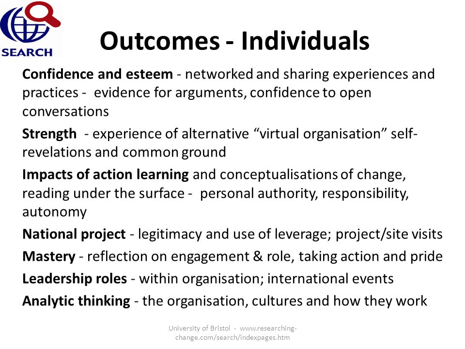 Outcomes - Individuals