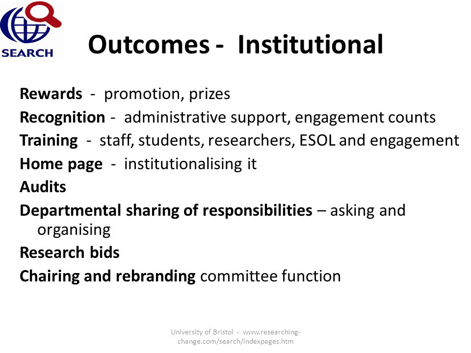 Outcomes - Institutional