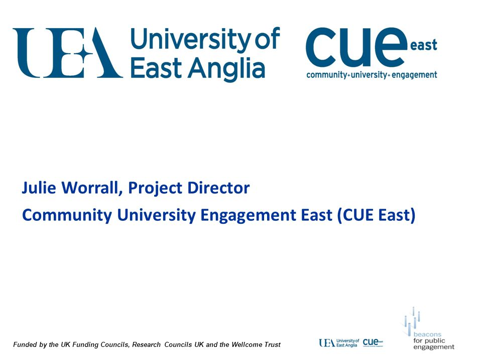 Julie Worrall, Project Director Community University Engagement East (CUE East)