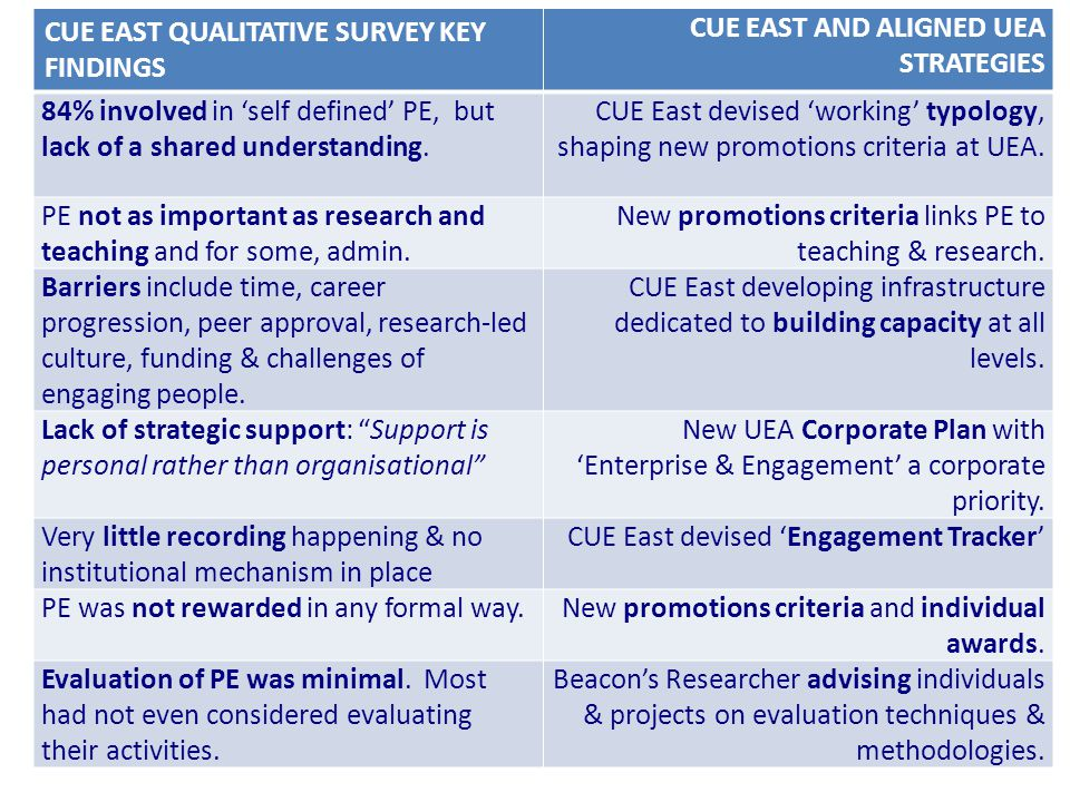 CUE EAST QUALITATIVE SURVEY KEY FINDINGS