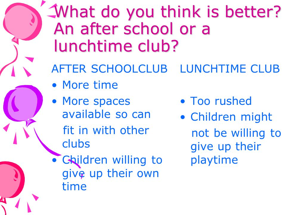 What do you think is better An after school or a lunchtime club