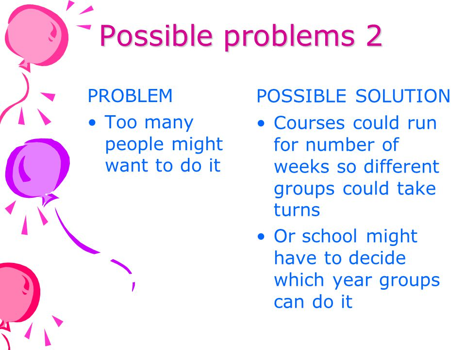 Possible problems 2 POSSIBLE SOLUTION PROBLEM