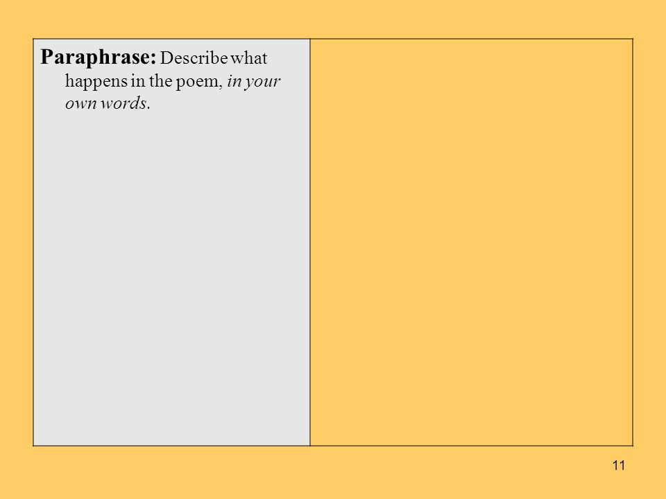 Paraphrase: Describe what happens in the poem, in your own words.