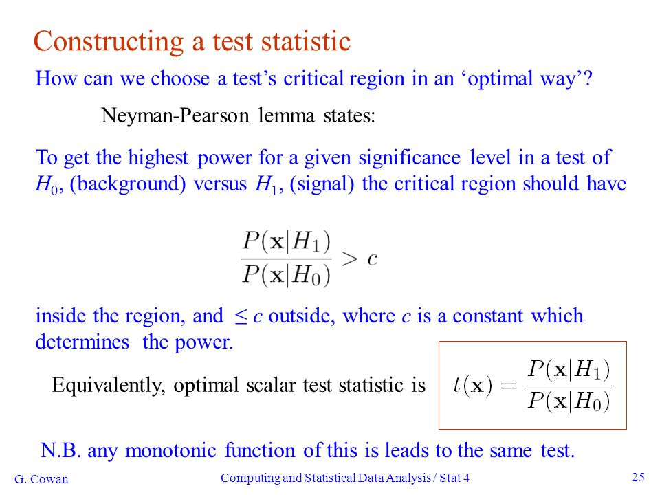Constructing a test statistic