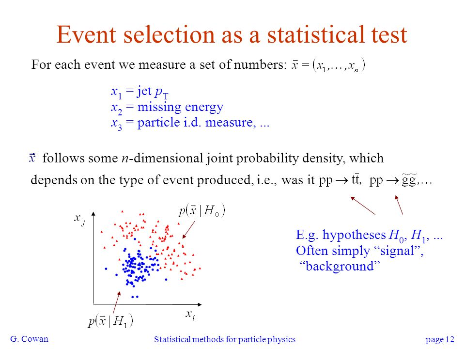 Event selection as a statistical test