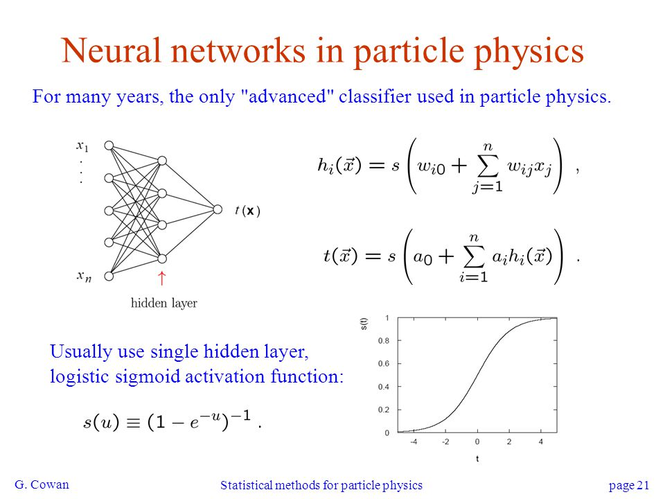 Neural networks in particle physics