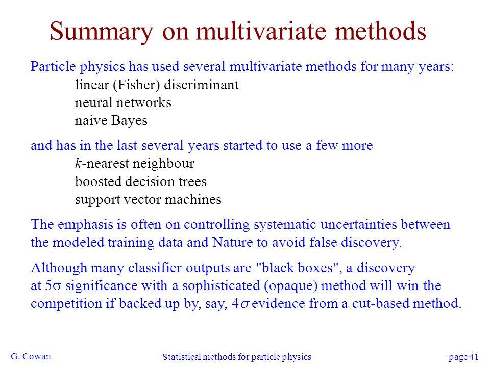 Summary on multivariate methods