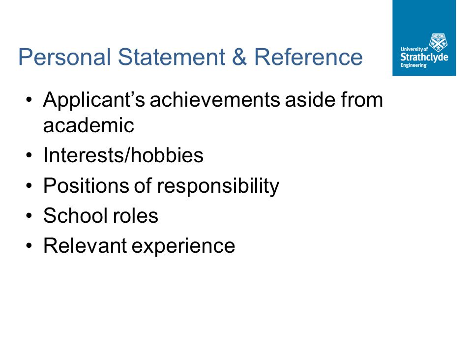 Personal Statement & Reference