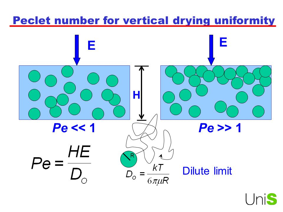 Peclet number for vertical drying uniformity