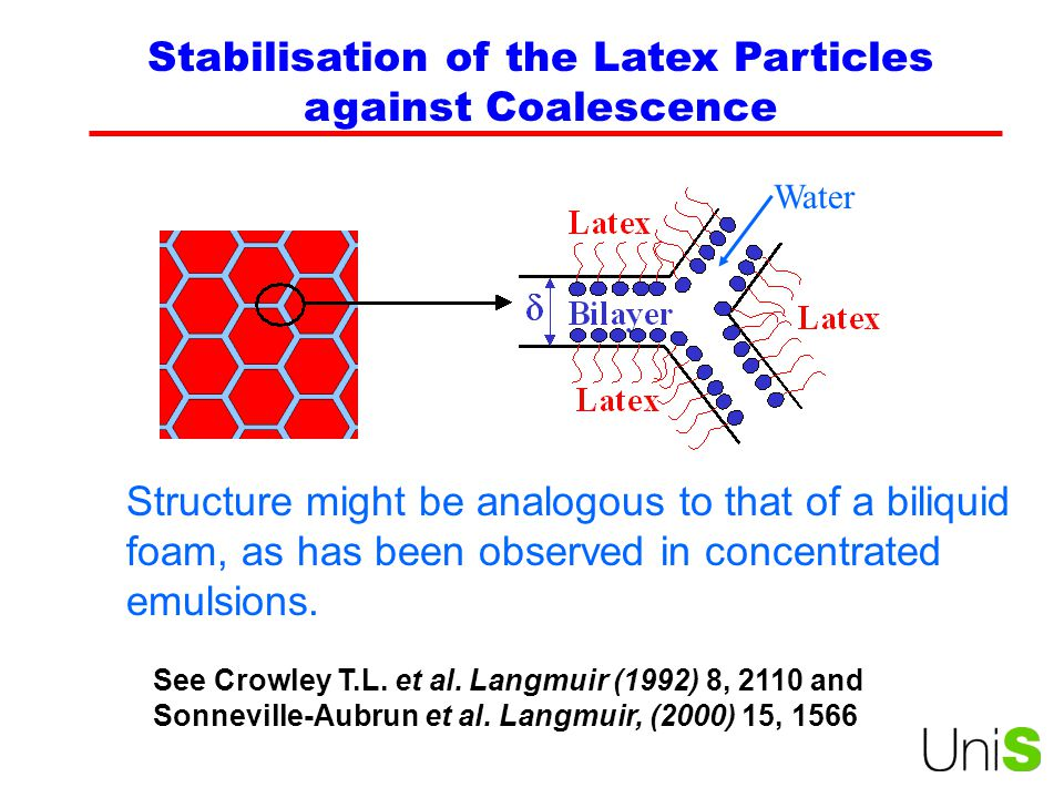 Stabilisation of the Latex Particles against Coalescence