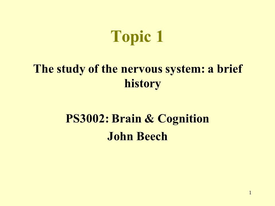 The study of the nervous system: a brief history