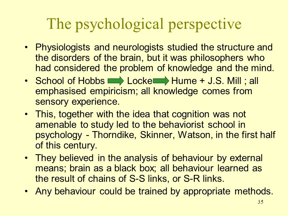The psychological perspective
