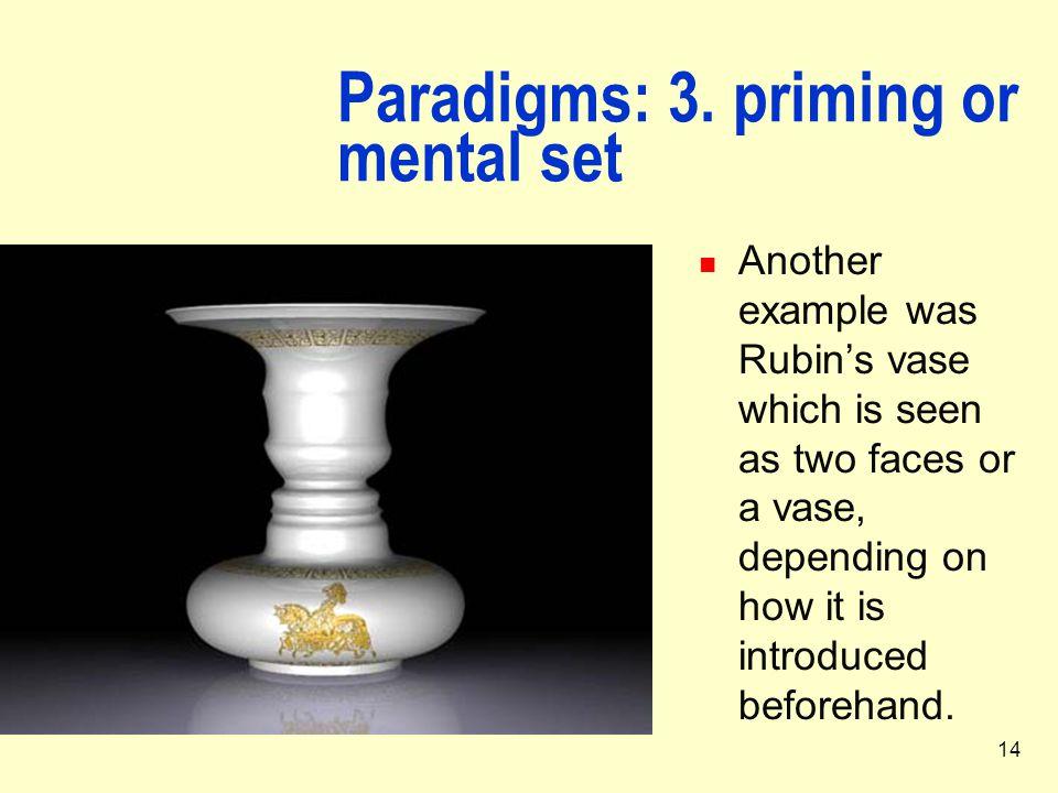 Paradigms: 3. priming or mental set