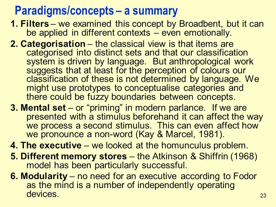 Paradigms/concepts – a summary