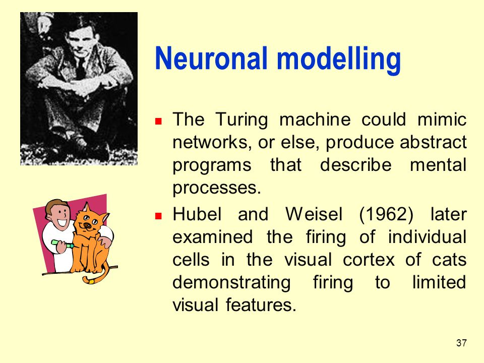 Neuronal modelling The Turing machine could mimic networks, or else, produce abstract programs that describe mental processes.